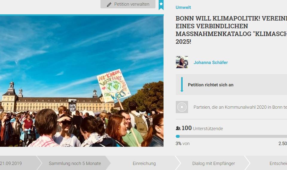 """""""Bonn will Klimapolitik"""" Treffen im BonnLAB am 02.10.2019 um 19 Uhr"""